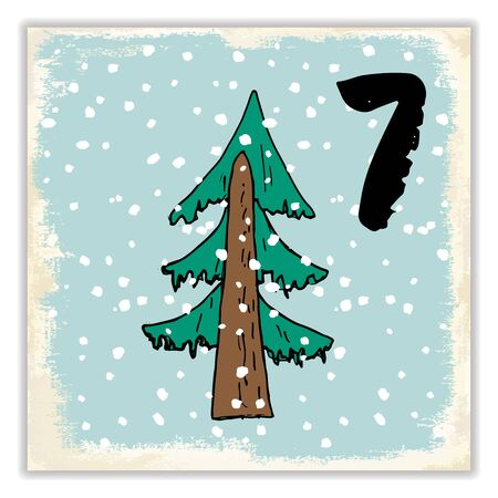 Christmas advent calendar. Hand drawn elements and numbers. Winter holidays calendar card design, Vector illustration. Illustration
