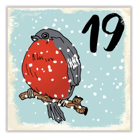 advent calendar: Christmas advent calendar. Hand drawn elements and numbers. Winter holidays calendar card design, Vector illustration. Illustration