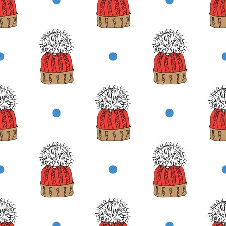 Winter season doodle clothes seamless pattern. Hand drawn sketch elements warm raindeer sweater, coat, boots, socks, gloves and hats. vector background illustration Illustration
