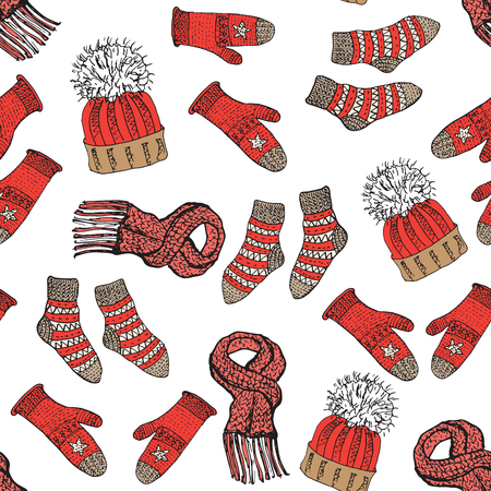Winter season doodle clothes seamless pattern. Hand drawn sketch elements warm raindeer sweater socks, gloves and hats. vector background illustration