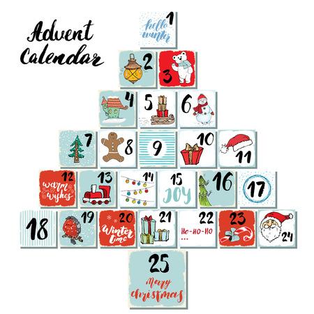 Christmas advent calendar. Hand drawn elements and numbers. Winter holidays calendar cards set design, Vector illustration. Ilustração