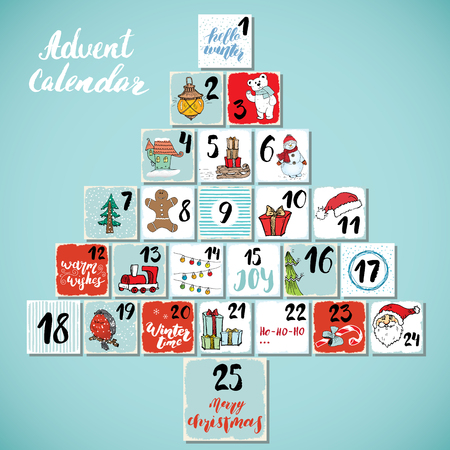 Christmas advent calendar. Hand drawn elements and numbers. Winter holidays calendar cards set design, Vector illustration. Vectores