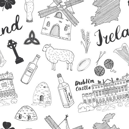 Ireland Sketch Doodles Seamless Pattern. Irish Elements with flag and map of Ireland, Celtic Cross, Castle, Shamrock, Celtic Harp, Mill and Sheep, Whiskey Bottles and Irish Beer, Vector Illustration.