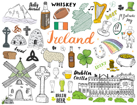 Ireland Sketch Doodles. Hand Drawn Irish Elements Set with flag and map of Ireland, Celtic Cross, Castle, Shamrock, Celtic Harp, Mill and Sheep, Whiskey Bottles and Irish Beer, Vector Illustration.  イラスト・ベクター素材