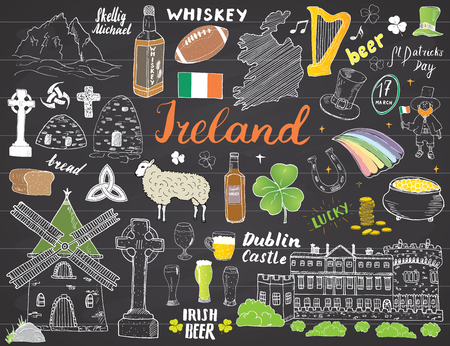 Ireland Sketch Doodles. Hand Drawn Irish Elements Set with flag and map of Ireland, Celtic Cross, Castle, Shamrock, Celtic Harp, Mill and Sheep, Whiskey Bottles and Irish Beer, Vector on chalkboard.