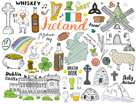 Irlande Sketch Doodles. Éléments irlandais dessinés à la main sertie de drapeau et carte d'Irlande, croix celtique, château, shamrock, harpe celtique, moulin et mouton, bouteilles de whisky et bière irlandaise, illustration vectorielle.
