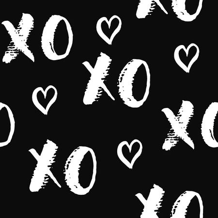 XOXO brush lettering signs seamless pattern, Grunge calligraphiv c hugs and kisses Phrase, Internet slang abbreviation XOXO symbols, vector illustration.