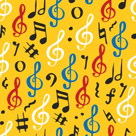 Ilustração de vetor padrão de padrões de música. Símbolos de notas de música esboçadas desenhadas a mão. Foto de archivo - 91581971