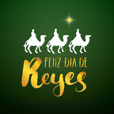 Feliz Dia de Reyes, Happy Day of kings, Calligraphic Lettering. Typographic Greetings Design. Calligraphy Lettering for Holiday Greeting. Hand Drawn Lettering Text Vector illustration. 일러스트