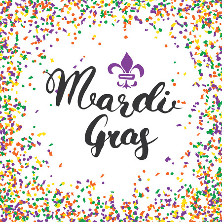 Mardi Gras Calligraphic Lettering. Typographic Greeting Card Design. Calligraphy Lettering for Holiday Greeting. Hand Drawn Lettering Text Vector illustration. Vettoriali