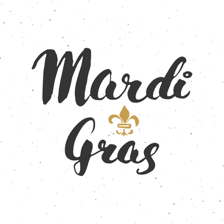 Mardi Gras Calligraphic Lettering. Typographic Greeting Card Design. Calligraphy Lettering for Holiday Greeting. Hand Drawn Lettering Text Vector illustration isolated on white background Vettoriali