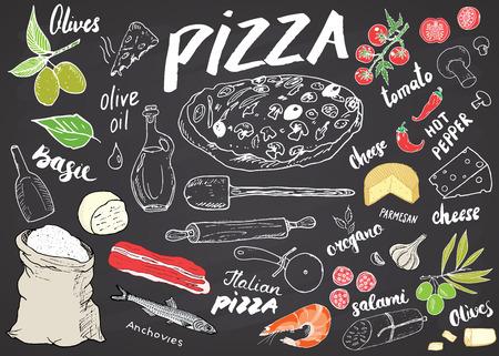 Esboço tirado mão do menu da pizza ajustado. Modelo de design de preparação de pizza com queijo, azeitonas, salame, cogumelos, tomate, farinha e outros ingredientes. ilustração vetorial no fundo do quadro-negro. Ilustración de vector