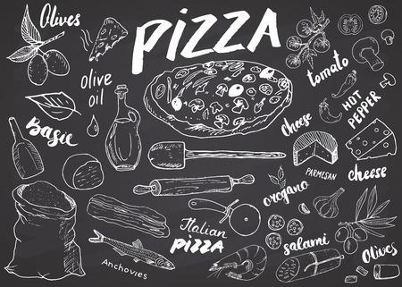 Gezeichneter Skizzensatz des Pizzamenüs Hand. Pizzavorbereitungs-Designschablone mit Käse, Oliven, Salami, Pilzen, Tomaten, Mehl und anderen Bestandteilen. Vektor-Illustration auf Tafel Hintergrund.