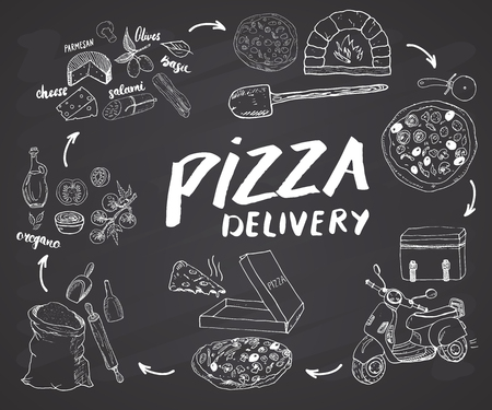 Pizza hand drawn sketch set. Pizza preparation and delivery process with flour and other food ingredients, paper box, oven and kitchen tools, scooter, pizza bag design template. Vector illustration.