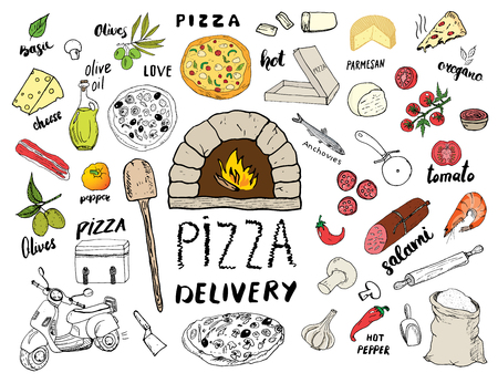 Pizza menu hand drawn sketch set. Pizza preparation and delivery doodles with flour and other food ingredients, oven and kitchen tools, scooter, pizza box design template. Vector illustration. Vettoriali