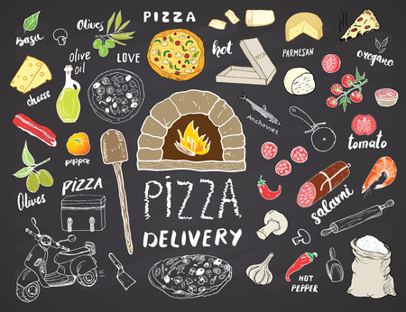 Pizza menu hand drawn sketch set. Pizza preparation and delivery doodles with flour and other food ingredients, oven and kitchen tools, scooter, pizza box design template. Vector illustration.  イラスト・ベクター素材