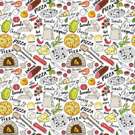 Pizza seamless pattern hand drawn sketch. Pizza Doodles Food background with flour and other food ingredients, oven and kitchen tools. Vector illustration. 版權商用圖片 - 93600815
