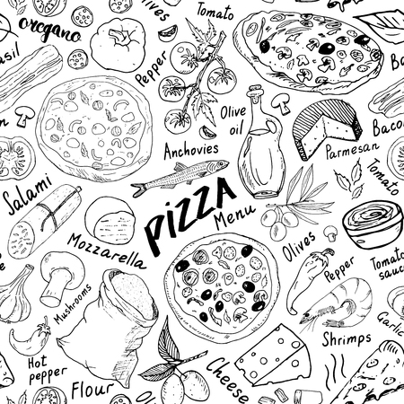 ピザシームレスパターン手描きスケッチ。ピザ落書き小麦粉やその他の食品成分、オーブンやキッチンツールと食品の背景。