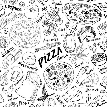 Esboço desenhado de pizza sem costura padrão mão. A pizza rabisca o fundo do alimento com farinha e outras ferramentas dos ingredientes, do forno e da cozinha de alimento. Ilustración de vector