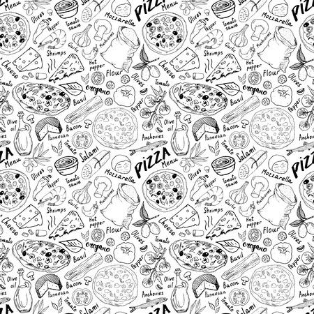 Ręcznie rysowane szkic pizzy wzór. Pizza Doodles Tło żywności z mąki i innych składników żywności, piekarnik i narzędzia kuchenne. Ilustracje wektorowe
