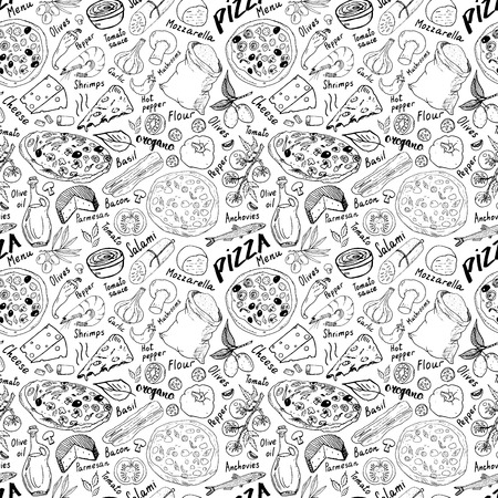 Pizza seamless pattern hand drawn sketch. Pizza Doodles Food background with flour and other food ingredients, oven and kitchen tools. Vettoriali