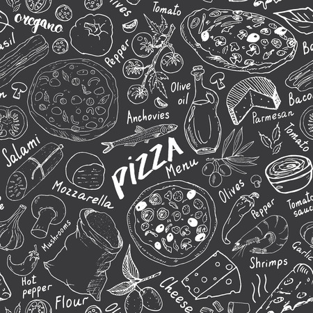 Pizza seamless pattern hand drawn sketch. Pizza Doodles Food background with flour and other food ingredients, oven and kitchen tools. Vectores