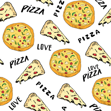 Pizza seamless pattern hand drawn sketch. Pizza slice doodles and words pizza love Food background.