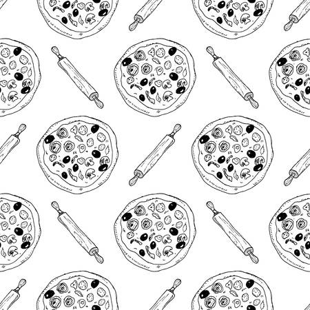 Pizza seamless pattern hand drawn sketch. Pizza doodles and rolling pin, Food background. Vectores
