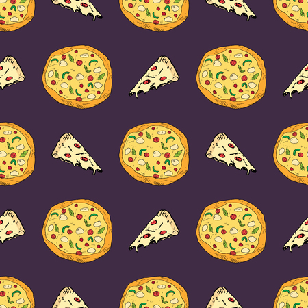 Pizza seamless pattern hand drawn sketch. Whole pizza and slice doodles Food background.
