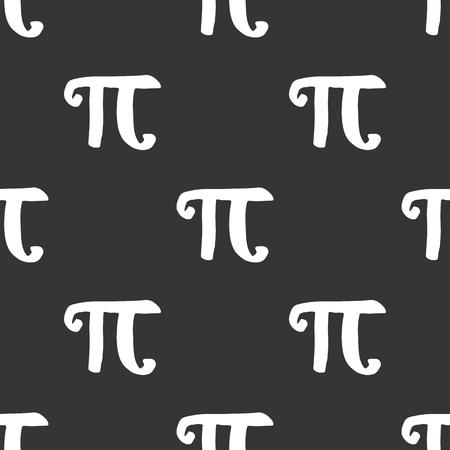 Pi symbol seamless pattern vector illustration. Hand drawn sketched Grunge mathematical signs and formulas, Vector illustration.