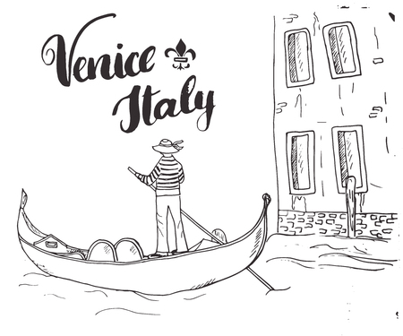 Hand gezeichneter Skizzen-Gekritzel-Gondoliere Venedigs Italien und Beschriftung des handgeschriebenen Zeichens, kalligraphischer Text des Schmutzes. Vektor-illustration Vektorgrafik