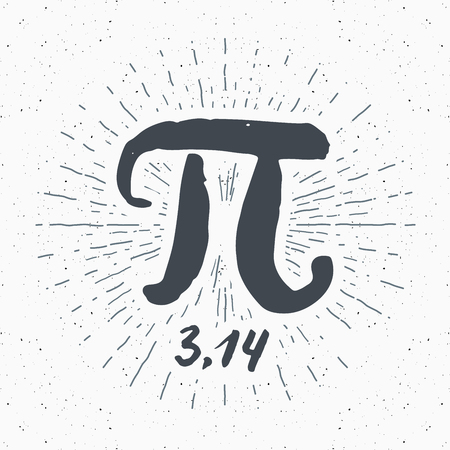 Pi symbol hand drawn icon, Grunge calligraphic mathematical sign, vector illustration. Vectores