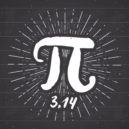 Pi symbol hand drawn icon, Grunge calligraphic mathematical sign, vector illustration on chalkboard background. Stock Illustratie