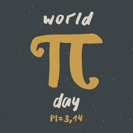Pi symbol hand drawn icon, Grunge calligraphic mathematical sign, vector illustration. Illustration