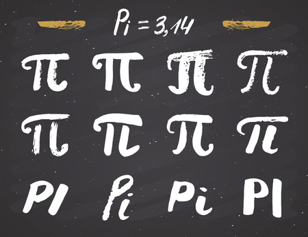 Pi symbols hand drawn icons set , Grunge calligraphic mathematical sign, vector illustration on chalkboard background.