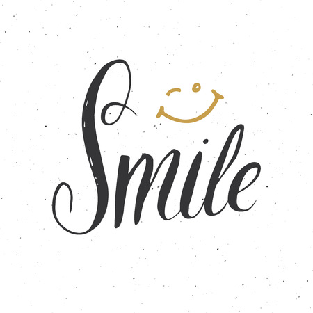 笑顔の文字手書きの看板 手描きのグランジ書記のテキスト ベクトルイラスト のイラスト素材 ベクタ Image