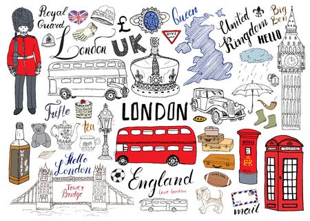 Cidade de Londres doodles coleção de elementos. Entregue o grupo tirado com, ponte da torre, coroa, ben grande, protetor real, ônibus vermelho e táxi, mapa BRITÂNICO e bandeira, potenciômetro do chá, rotulando, ilustração do vetor isolada.