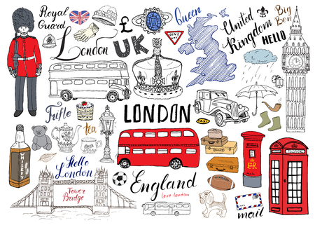 London city doodles elements collection. Hand drawn set with, tower bridge, crown, big ben, royal guard, red bus and cab, UK map and flag, tea pot, lettering, vector illustration isolated.