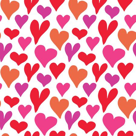 Heart symbol seamless pattern vector illustration. Hand drawn sketch doodle background. Illustration