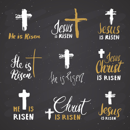 He Is Risen And Jesus Is Risen Lettering Set Religious Signs