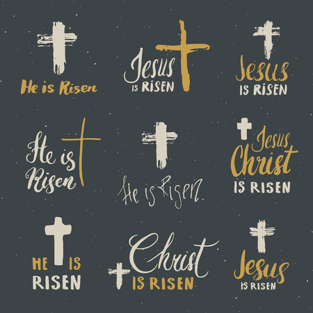 He is risen and Jesus is Risen lettering set religious signs with crucifix symbols. Hand drawn Christian cross vector illustration