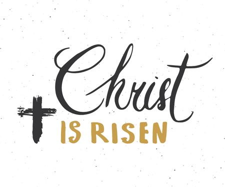Christ is risen lettering set religious signs with crucifix symbols. Hand drawn Christian cross vector illustration