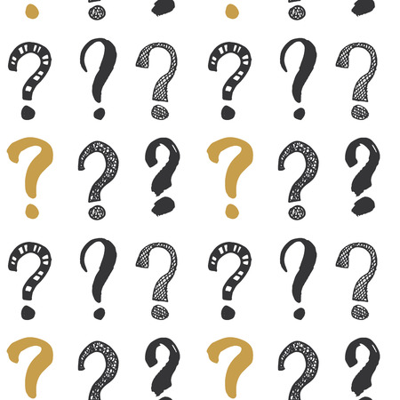 Questions marks hand drawn sketched doodle signs, grunge textured retro design.