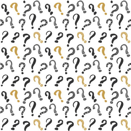 Questions marks hand drawn sketched doodle signs, grunge textured retro. Illustration