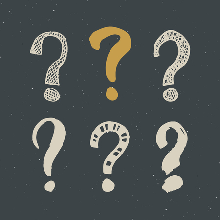 Questions marks doodle set with hand drawn grunge signs.