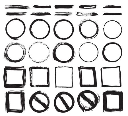 Round Frames, text boxes and Brush strokes, grunge textured hand drawn elements set, vector illustration. Ilustração Vetorial