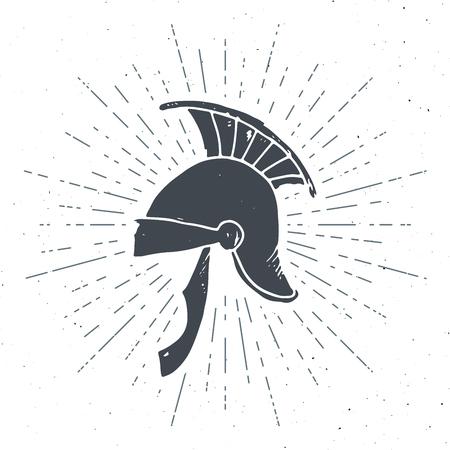 Ancient roman helmet vintage label, Hand drawn sketch, grunge textured retro badge, typography design t-shirt print, vector illustration . Illustration