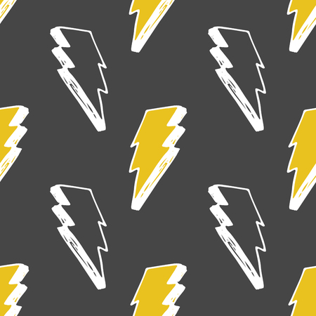 Lightning seamless pattern vector illustration. Hand drawn sketched doodle lightning symbols.