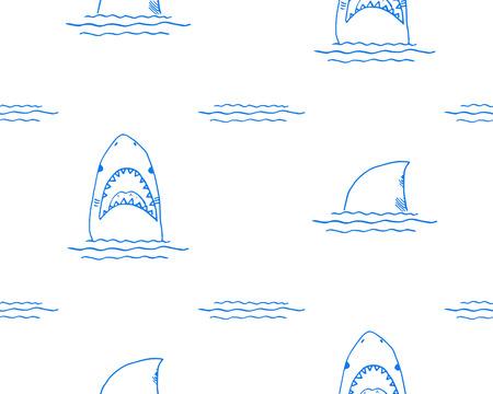 Shark seamless pattern, Hand drawn sketched doodle shark, vector illustration. Illustration