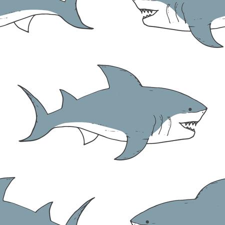 Modello senza cuciture di squalo, squalo di doodle abbozzato disegnato a mano, illustrazione vettoriale. Vettoriali
